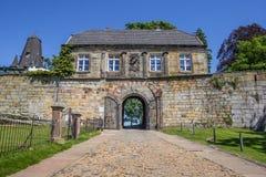 Ingångshus av bergstoppslotten i dåliga Bentheim Royaltyfri Foto