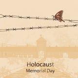 Ingångsport till Auschwitz Birkenau också vektor för coreldrawillustration vektor illustrationer