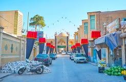 Ingångsportalen av den Agha Bozorg moskén, Kashan, Iran arkivfoto