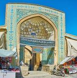 Ingångsportalen av den Jameh moskén, Isfahan, Iran royaltyfri bild