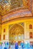 Ingångsportalen med spegelgarneringar, Isfahan, Iran fotografering för bildbyråer