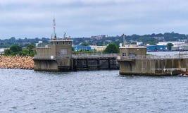 Ingångsvågbrytare nya Bedford Harbor Buzzards Bay Massachusett arkivfoto