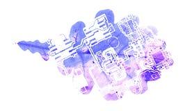 Ingénierie de l'électronique dans la forme de chêne Images libres de droits