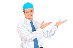 Ingénieur avec le casque antichoc bleu Images stock