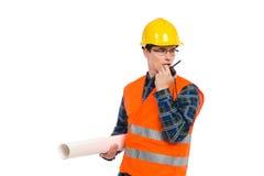 Ingénieur avec le talkie - walkie. Images stock