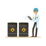 Ingénieur d'industrie pétrolière commandant le processus de l'illustration de vecteur de production de pétrole illustration de vecteur