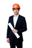 Ingénieur dans le casque antichoc d'isolement sur le blanc Photo libre de droits