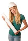 Ingénieur de construction de femme avec le casque et le construc de constructeur Image libre de droits