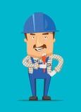 Ingénieur de construction et travailleur d'humain souriant sur une illustration du travail Photos stock