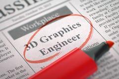 Ingénieur de graphiques de Job Opening 3D Photographie stock