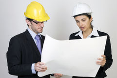 Ingénieur et client sur le site Photo stock
