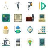 Ingénieur Flat Icons Set Image stock
