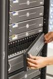 Ingénieur informatique Maintains San et serveurs Image libre de droits