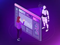 Ingénieur isométrique d'entretien travaillant avec l'affichage numérique Concept de programmation de robot Intelligence artificie illustration de vecteur