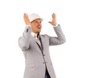 Ingénieur masculin Happily Come vers le haut de bonne idée Image stock