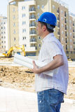 Ingénieur sur le chantier de construction Photo stock