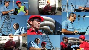 Ingénieurs avec l'ordinateur portable - collage de photo Photo libre de droits
