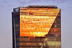 ING Bucharest kwatery główne przy zmierzchem Zdjęcie Stock