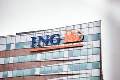 ING loga firma na budynku Zdjęcia Royalty Free
