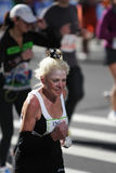 ING New York City Marathon, Old Woman Stock Image