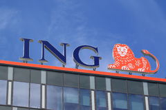 ING. PRAGUE, CZECH REPUBLIC - JULY 11, 2015: Office of ING Group. ING was the world's largest banking/financial services and insurance conglomerate Stock Photo