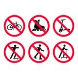 Inga cyklar som cyklar, ingen rulle som åker skridskor, inget sparkcykelförbudtecken, ställde in stock illustrationer