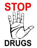 Inga droger Handen visar en gest av stoppet vektor affisch Arkivbilder