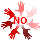 Inga händer indikerar Deny Decline And Stop stock illustrationer