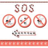 Inga pesky myggor i huset stock illustrationer