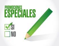 inga speciala befordringar i spanskt teckenbegrepp royaltyfri illustrationer
