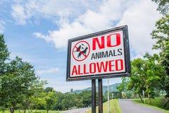 inga tillåtna husdjur undertecknar in parkera Arkivbild
