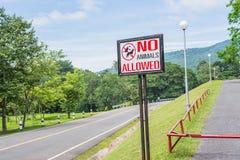 inga tillåtna husdjur undertecknar in parkera Arkivbilder