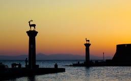 Ingang 1 van de Haven van Rhodos Royalty-vrije Stock Afbeeldingen