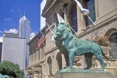 Ingang aan Art Institute van het Museum van Chicago, Chicago, Illinois Royalty-vrije Stock Foto's