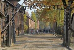 Ingang aan Auschwitz I concentratiekamp Stock Afbeelding