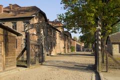 Ingang aan Auschwitz kampeer ik Stock Afbeelding