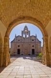 Ingang aan beroemd Arcady-klooster, Eiland Kreta stock foto