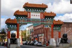 Ingang aan Chinatown in Portland van de binnenstad, Oregon stock fotografie