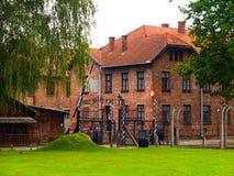 Ingang aan concentratiekamp het van Auschwitz (Oswiecim) Stock Fotografie