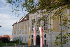 Ingang aan de abdij Stock Foto