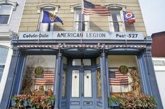 Ingang aan de Amerikaanse Legioenzaal in Seneca Falls, NY Stock Afbeelding