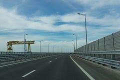 Ingang aan de Krimbrug van het Krasnodar-gebied Stock Afbeeldingen