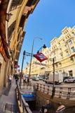 Ingang aan de metropost Anton Martin in Madrid Stock Afbeeldingen