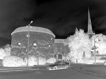 Ingang aan de middeleeuwse stad - negatieve foto Stock Fotografie