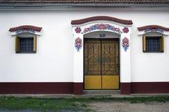 Ingang aan de moravian wijnkelder, Dolni Bojanovice stock foto