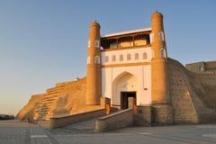 Ingang aan de oude citadel in Boukhara 'Bakcitadel ' royalty-vrije stock fotografie