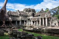 ingang aan de oude tempel van Preah Khan, Angkor stock afbeelding