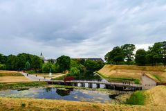 Ingang aan de vesting Kastellet, Kopenhagen, Denemarken, één van de het best bewaarde stervestingen in Noordelijk Europa Royalty-vrije Stock Afbeeldingen