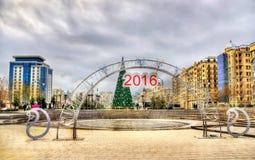 Ingang aan de Winterpark in Baku stock afbeelding