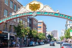 Ingang aan Gaslamp-Kwart in San Diego California stock afbeelding